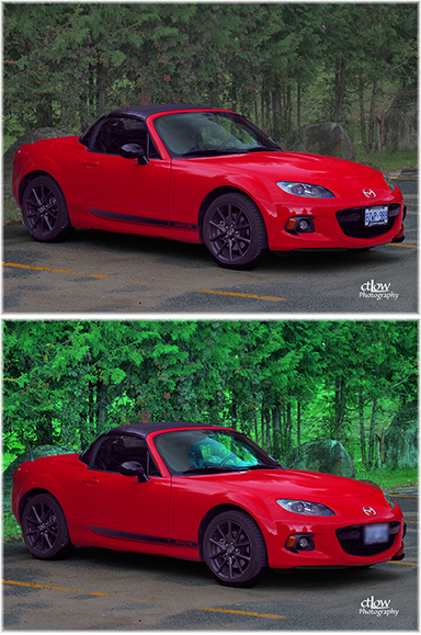 MX5 before and after photographic editing